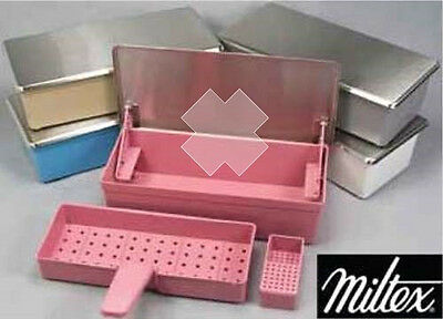 Genuine MILTEX Germicide Instrument Soaking Sterilization Tray Stainless Lid USA