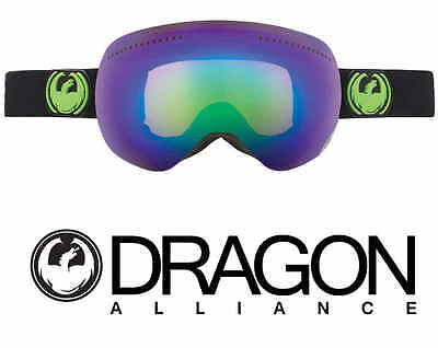 Dragon APX X1 Snow Goggles Jet / Green Ionized + Yellow/Blue Ion Lens NEW
