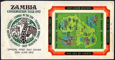 1972 Zambia - Conservation Year - Miniature Sheet On Cover - Fdc - Cover - J34
