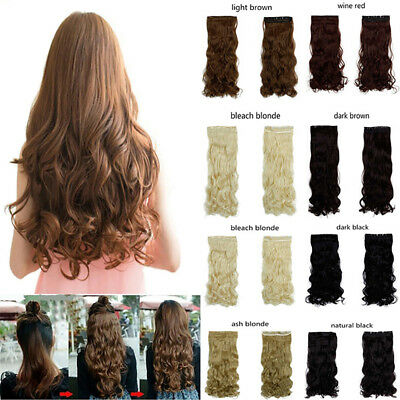 Clip in hair extensions one piece half full head real synthetic brown UK Seller