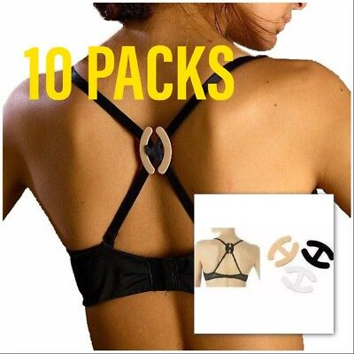 10 PACK Bra Strap Cleavage Control Sports Racerback Running Clasp Holder Clips