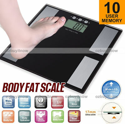 180KG Digital Weight Scales Bathroom Body Fat Bone BMI Super Slim LCD AU Stock