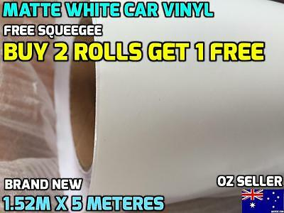 BRAND NEW Matte WHITE Car Vinyl Wrap Sticker1520mm X 5000mm , FREE SQUEEGEE,OZ