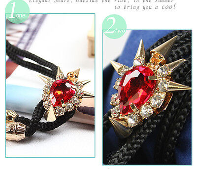 Punk Western Cow Girl Red Rivets Bolo Ties Rodeo Dance Bola Tie Pendant Necktie