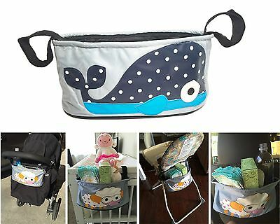 Animal Stroller Organizer Bags Universal Fit Cup Holder Storage Pocket _Whale