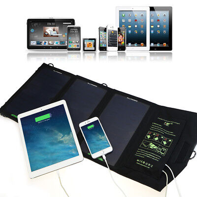 15W Waterproof Folding Solar Panel Battery Power Charger Pack For iPhone Outdoor