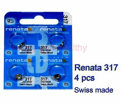 New Renata SR516SW 317 Silver Oxide watch Battery 4 pcs Swiss Made FREE Shipping