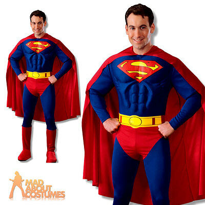 Adult Deluxe Superman Muscle Chest Costume Mens Superhero Fancy Dress Outfit New