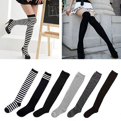 New Sexy Women Ladies Cotton Thigh High Over The Knee Socks Long Stockings