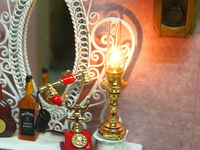 Dollhouse Miniature Brass Oil Table Electric Lamp Light + Cable 1:12 Vintage