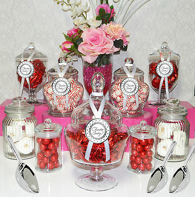 Lolly Jars Candy Buffet .. 9 x Jars & 3 Scoops .. Wedding Apothecary Jars