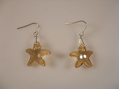 Sterling Silver, Faceted Golden Shadow Starfish Swarovski Element Earrings