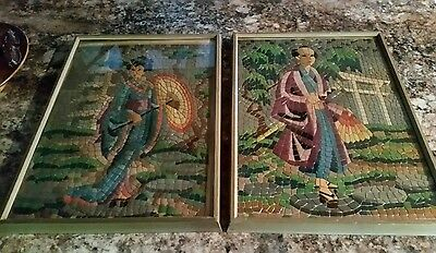 Vintage Framed Plastic Mosaic Wall Art Asian Paint By Number Embossed 1950's