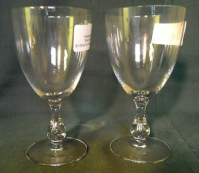 "Kosta Boda SPARTAN Set of 2 Water Goblets BEST! 6-1/8"" BUBBLE IN STEM"