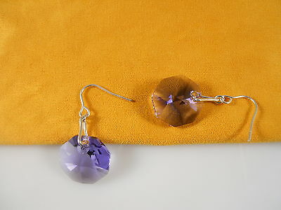 Sterling Silver, Faceted Purple Octagon Swarovski Element Earrings