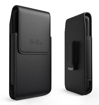 Black Leather Vertical Holster with Belt Clip Pouch Case for Apple IPhone