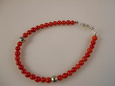Sterling Silver, Red Smooth Round Coral Bracelet