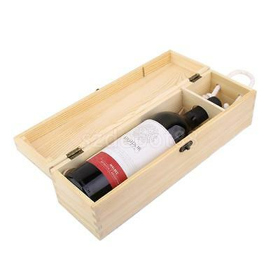 Natural Wooden Wine Box Space Bottle Carrier Gift Case Valentines Present
