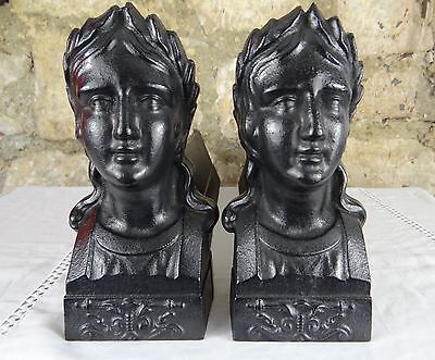 Antique French Cast Iron Fireplace Andirons Firedogs - Empire Style Women