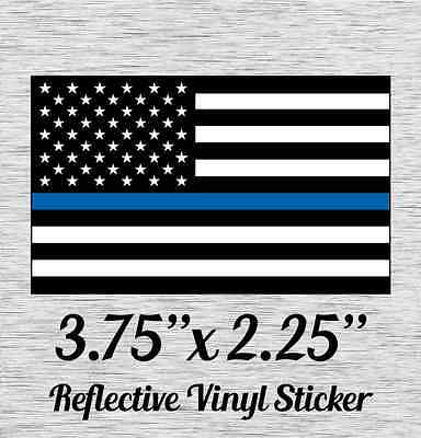 """Police Officer Thin Blue Line reflective American Flag Sticker 3.75"""" X 2.25"""""""