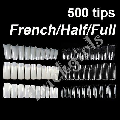 500 TIPS French Full Half Nail Art UV Acrylic False Nails Tip Manucure Salon Kit