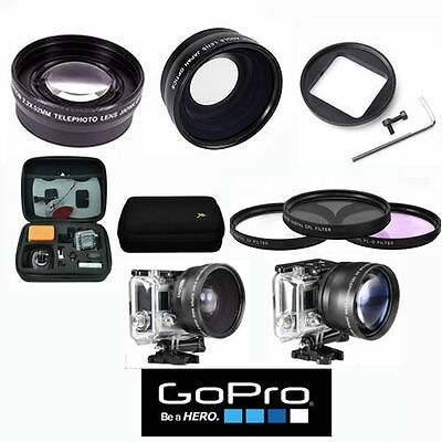 .43X Hd Wide Angle Lens + Hd Telephoto Zoom Lens Kit + Hard Case For Gopro Hero4