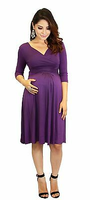 Purple 3/4 Sleeve Long Past Knee Solid Dress Maternity Wedding Womens S M L XL