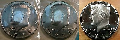 1973 P D S Kennedy Half Dollar 2 Brilliant Uncirculated Mint Coin's 1 Clad Proof