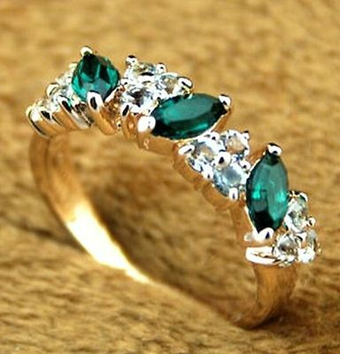 FD2998 Grace Women Lady Antique Emerald Rhinestone Crystal Finger Ring Jewelry