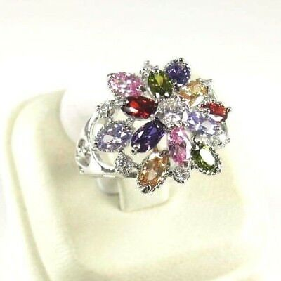 R#10107 simulated Multicolored Multi-gemstone ladies silver ring size 6.5
