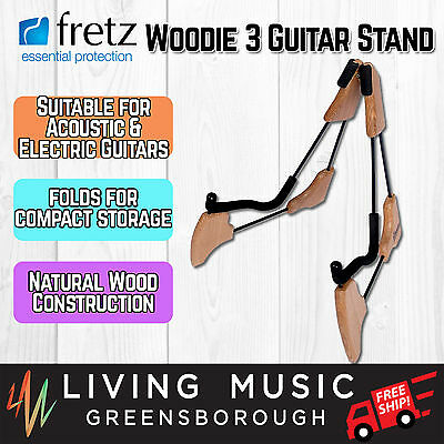 NEW Fretz 'Woodie 3' Wooden Frame Combo Folding Electric & Acoustic Guitar Stand