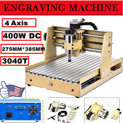 NEW 4 AXIS CNC Router Engraver Engraving Drilling Milling Machine Desktop 3040