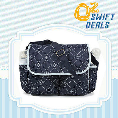 New Embroidered Baby Diaper Nappy Bag Changing Shoulder Travel Handbag Blue