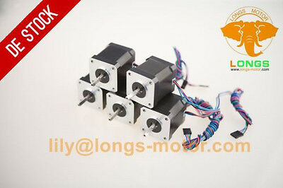 DE Free Ship 5pcs Nema17 Stepper Motor 55Ncm(78oz.in) Bipolar 1m cable connector