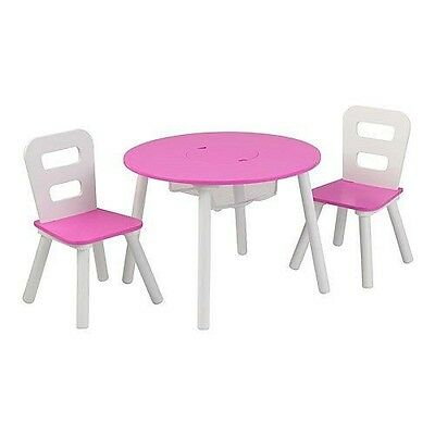 KidKraft Round Table and 2-Chair Set - White and Pink