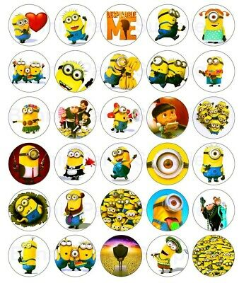30 x  Despicable Me Minion Edible Wafer Cupcake Toppers