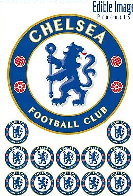 Chelsea Football Club 19cm Edible Wafer Cake topper with 12 cupcake toppers