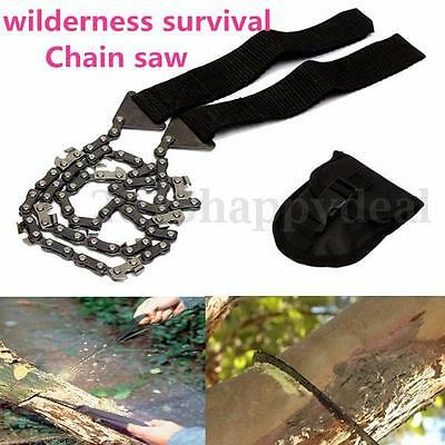 Survival Chain Saw Hand Emergency Self-Rescue Outdoor Camping Tool Pocket + Bag
