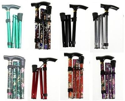 Folding Foldable Walking Disability Stick Aluminium Multi Purpose Various Colour