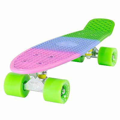 "Land Surfer Cruiser Skateboard 22"" 3-TONE FLOURESCENT BOARD GREEN WHEELS"