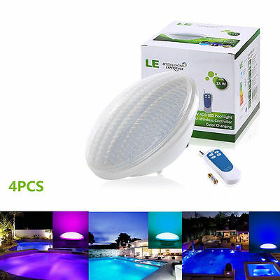 4Pc 18W Dimmable Underwater LED RGB Pool Lamp Light/Lighting + Remote Controller