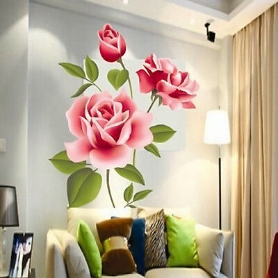 Rose Flower Wall Stickers Removable Decals Home Decor DIY Vinyl Art Decoration
