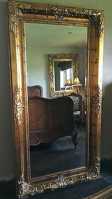 ANTIQUE AGED GOLD ORNATE LARGE FRENCH BEVELLED WOOD LEANER WALL MIRROR 6FT x 4FT