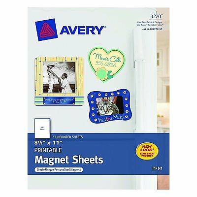 Magnet Sheets Printable 8.5 x 11 Inches, White 5 Unprinted Sheets (03270) Avery