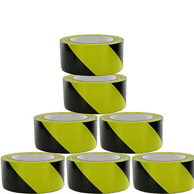 NEW Roll BLACK/YELLOW Adhesive Hazard Warning Barrier SAFETY Tape 50mm 33m uk731