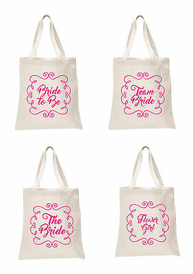 Bridal Pink Printed Wedding Favour Tote Bags bride hen party Bridesmaid gifts