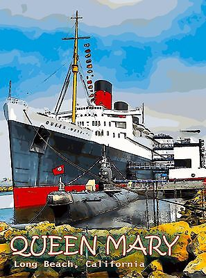 The Queen Mary Long Beach California United States Original Travel Poster