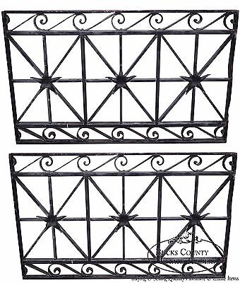 Antique Hand Wrought Iron Pair of Black Iron Regency Style Wall Grates