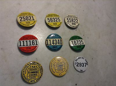 Lot of 1936-1984 NJ Resident Hunting,Fishing,Trapping,Claming License Badges
