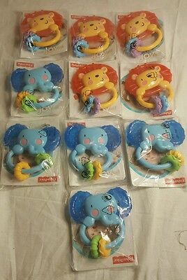 Lot of 10 - Fisher Price Elephant Lion Teether/Rattle 2013 Mattel 3-18 Months